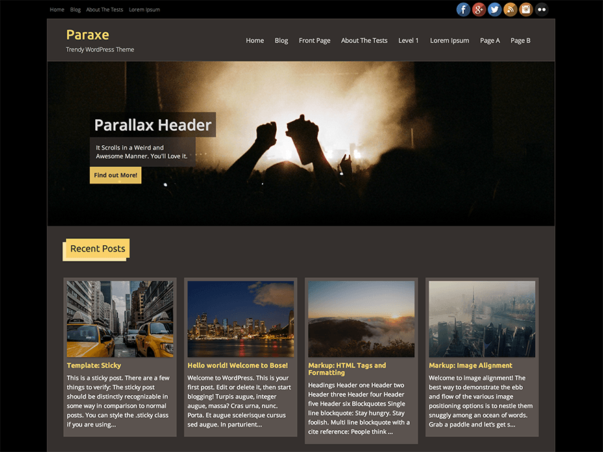 Paraxe free wordpress theme