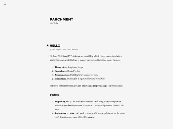 Parchment wordpress theme