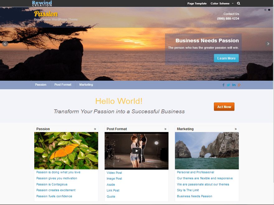 Passion free wordpress theme