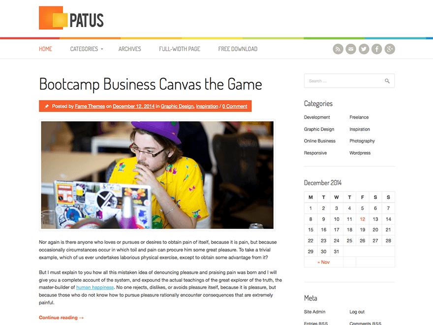 Patus free wordpress theme