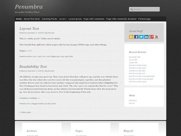 Penumbra free wordpress theme