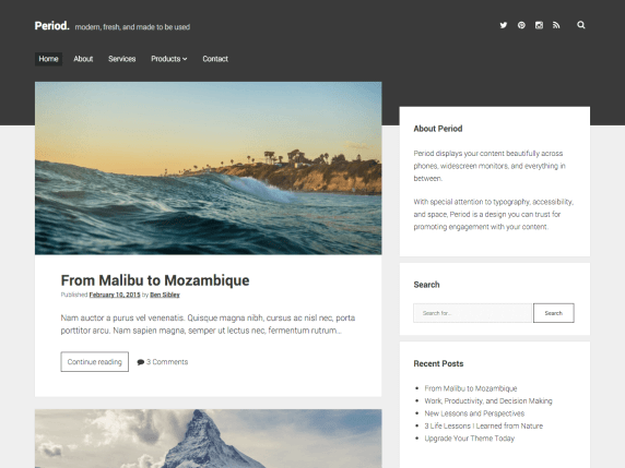 Period wordpress theme