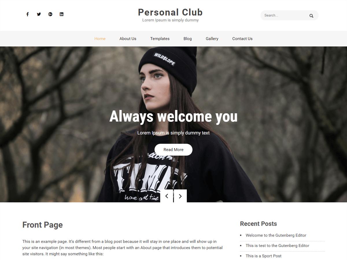 WordPress主题:Personal Club