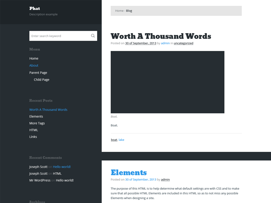 Phat free wordpress theme