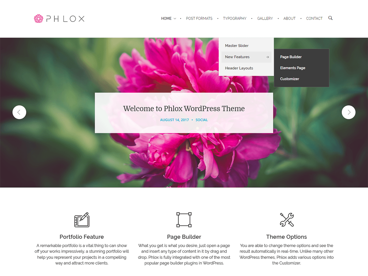 WordPress тема: PHLOX