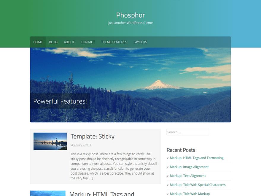 Phosphor free wordpress theme