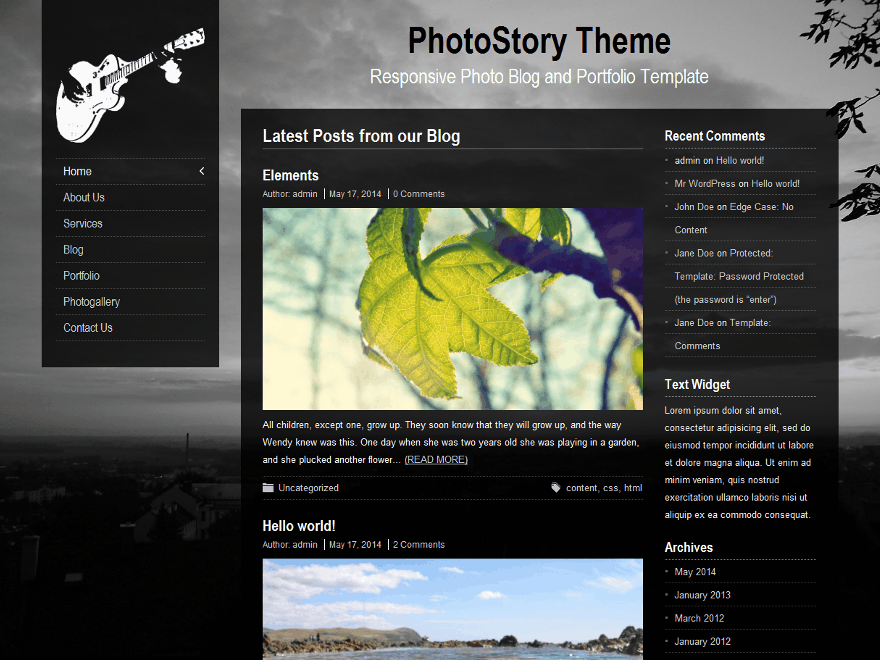 PhotoStory free wordpress theme