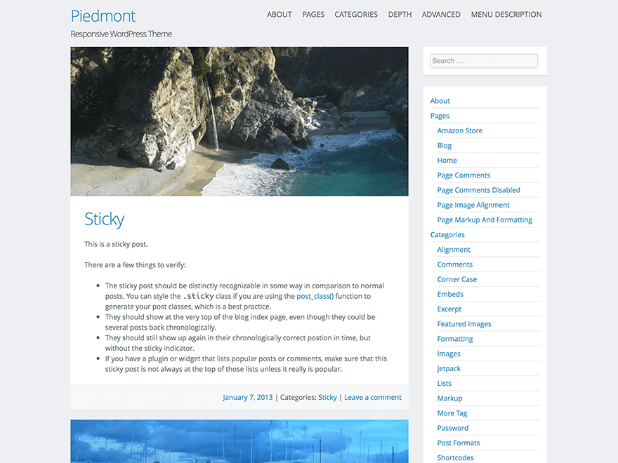 Piedmont free wordpress theme