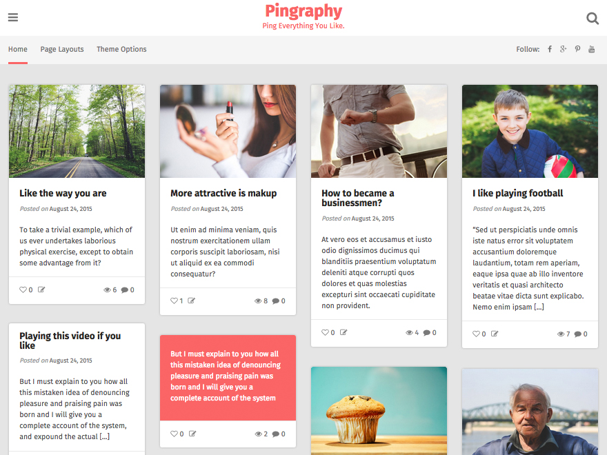 Pingraphy free wordpress theme