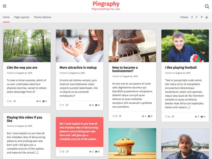 Pingraphy free wordpress theme