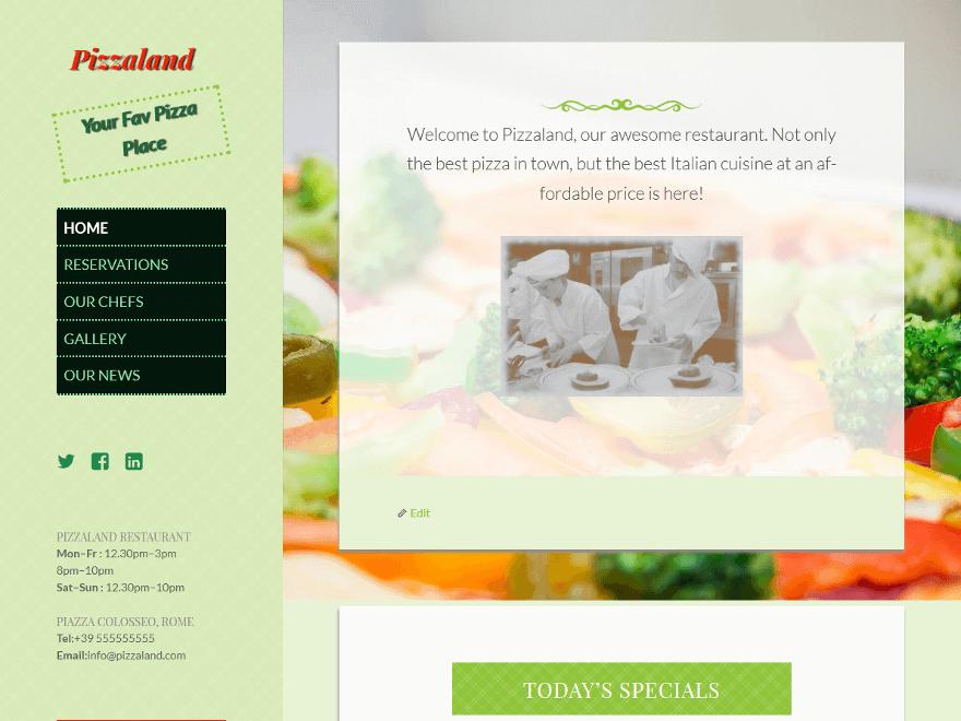Pizzaland free wordpress theme