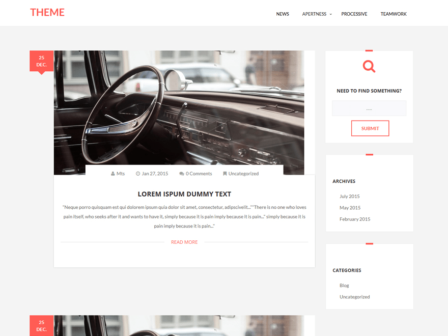 Plain Blog free wordpress theme