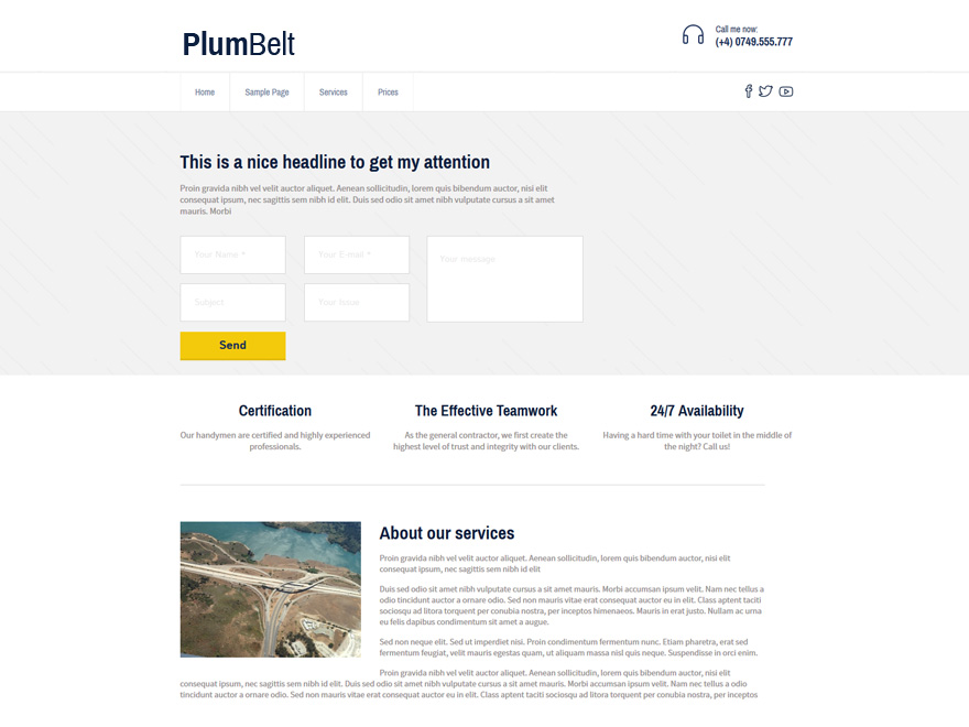 PlumBelt Lite free wordpress theme