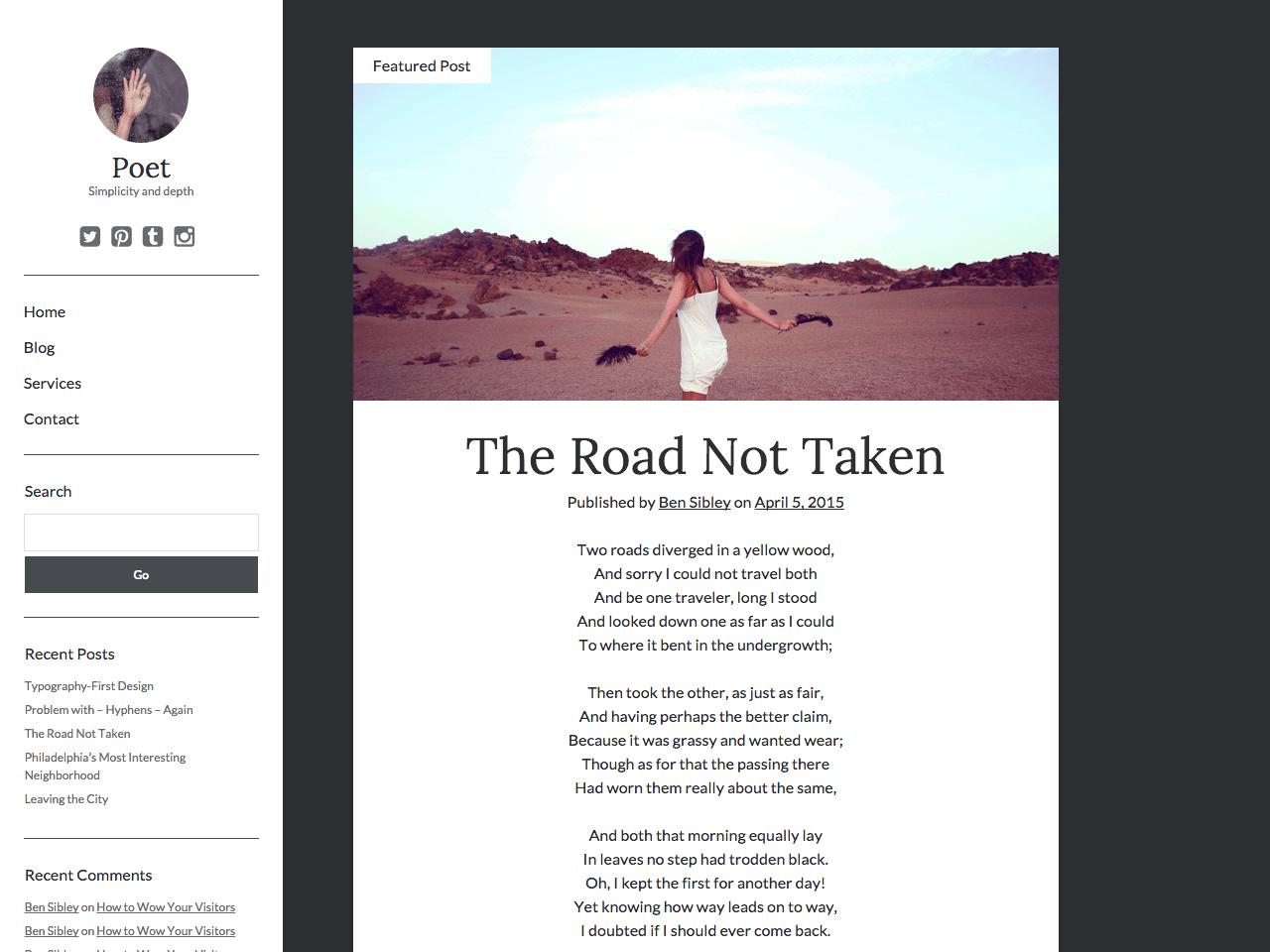 Poet free wordpress theme