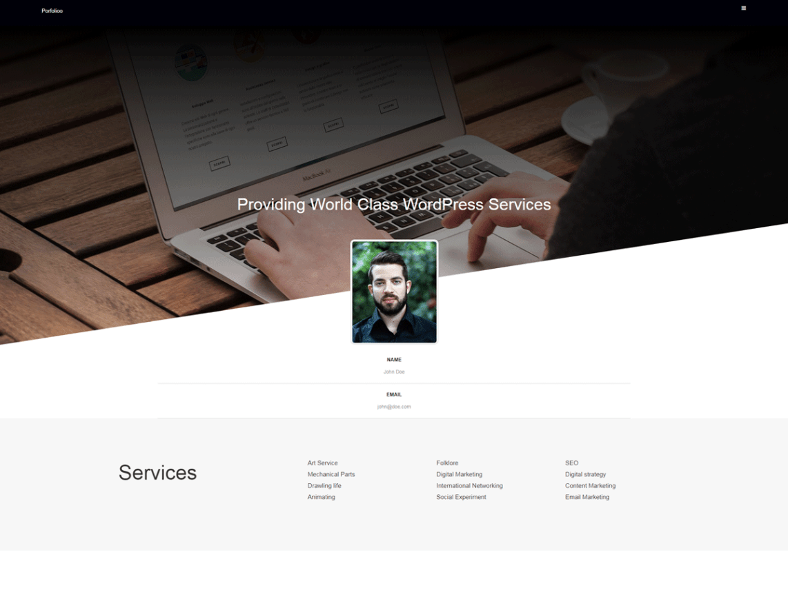 Portfolioo Theme Free Download