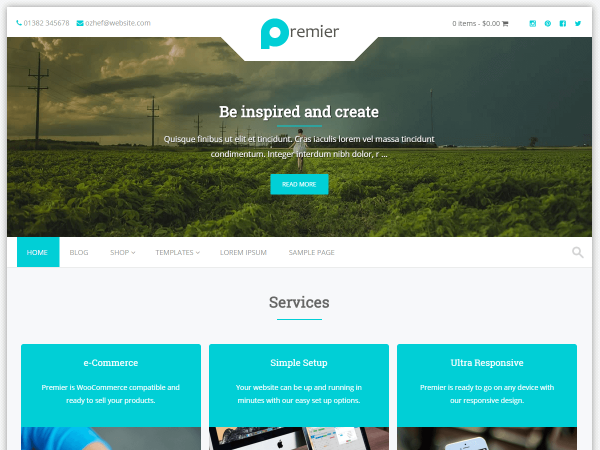 Premier free wordpress theme