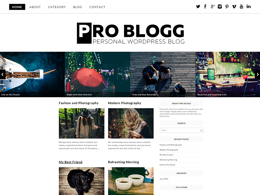 Pro Blogg free wordpress theme