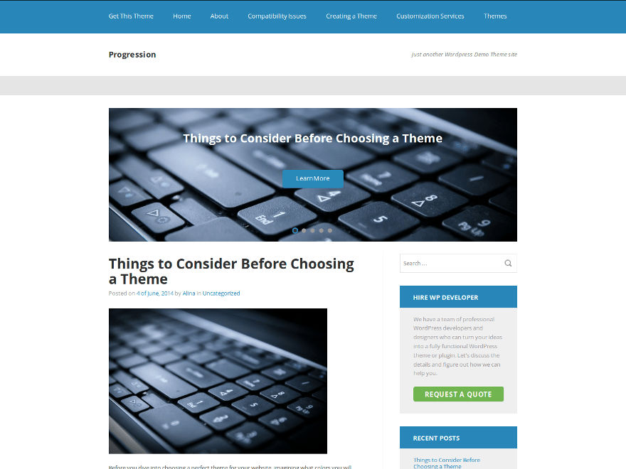 Progression free wordpress theme