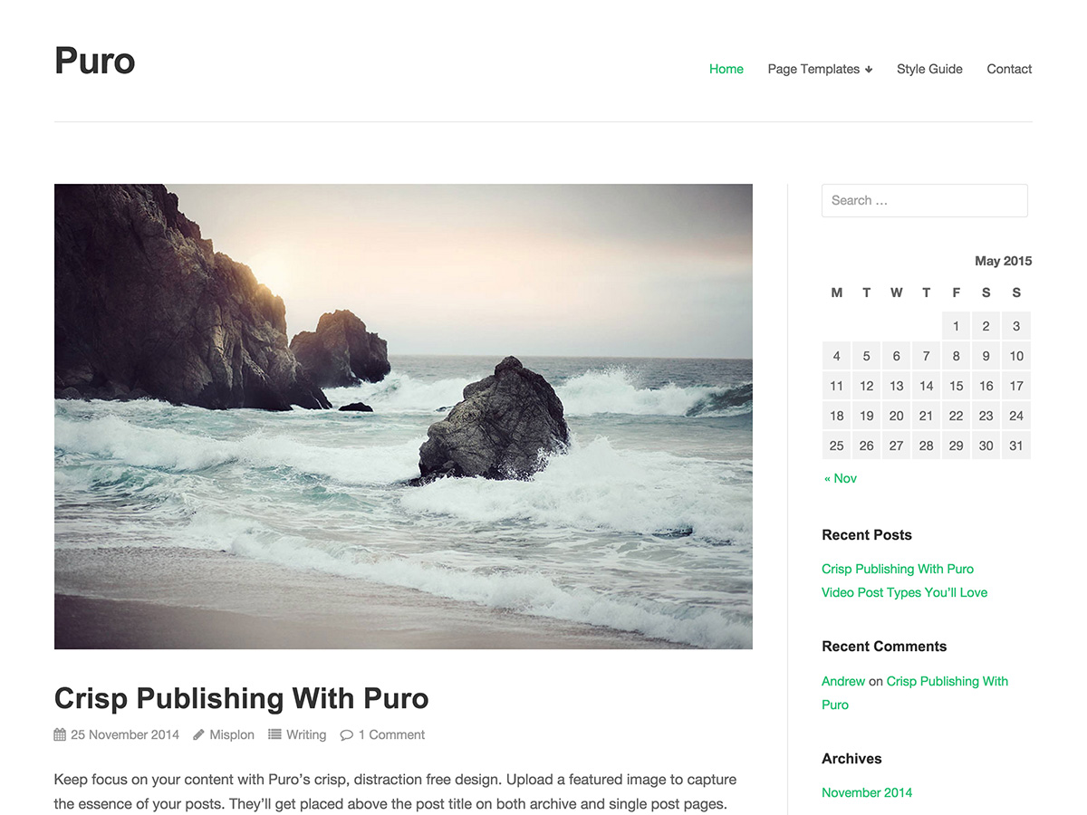 Puro free wordpress theme