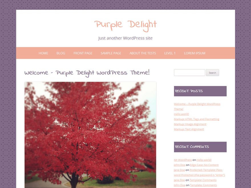 Purple Delight free wordpress theme