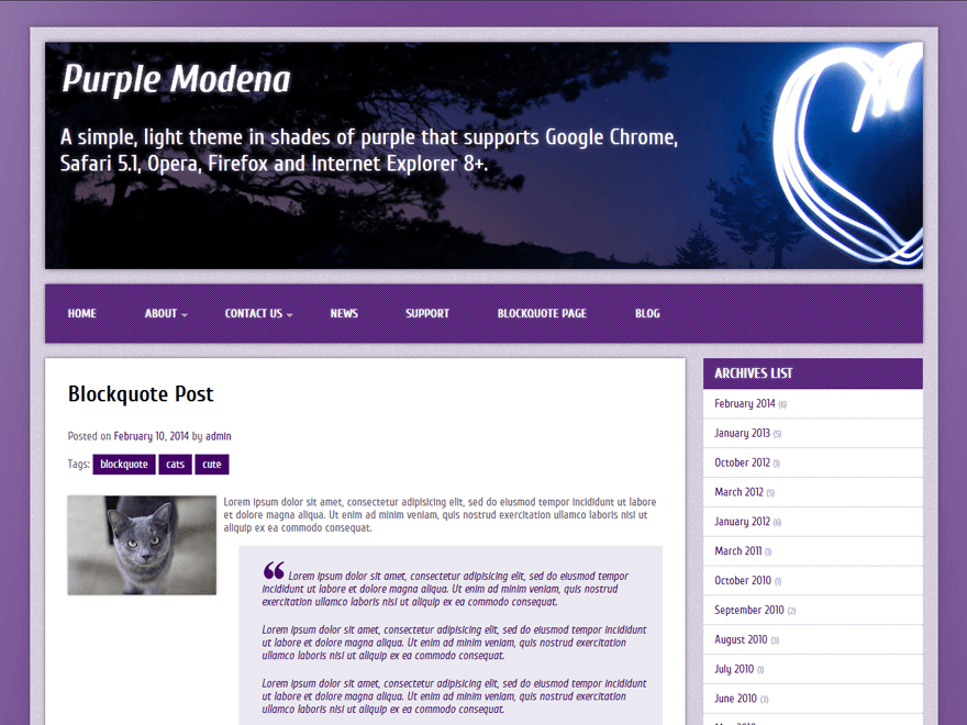 Purple Modena theme wordpress gratuit