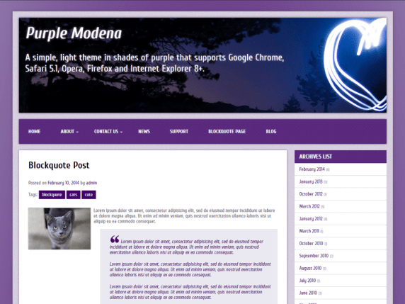 Purple Modena wordpress theme