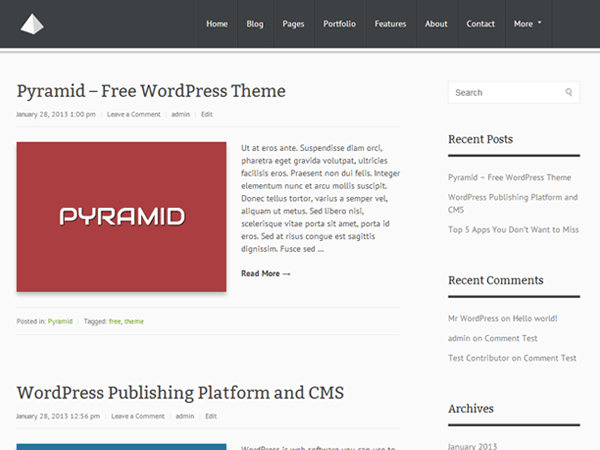 Pyramid free wordpress theme