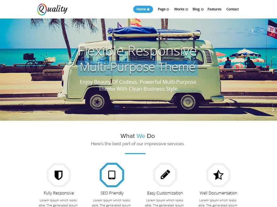 Quality blue free wordpress theme