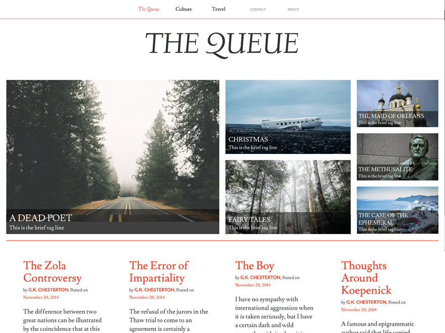 Queue free wordpress theme