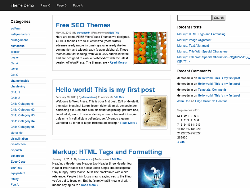 QuickStrap free wordpress theme