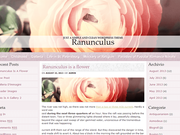 Ranunculus free wordpress theme