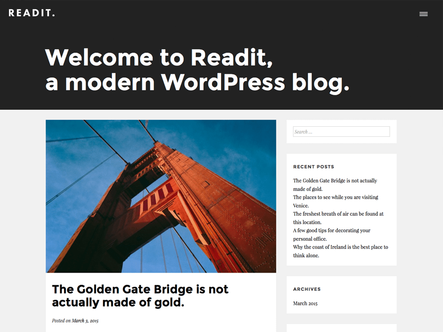 Readit free wordpress theme