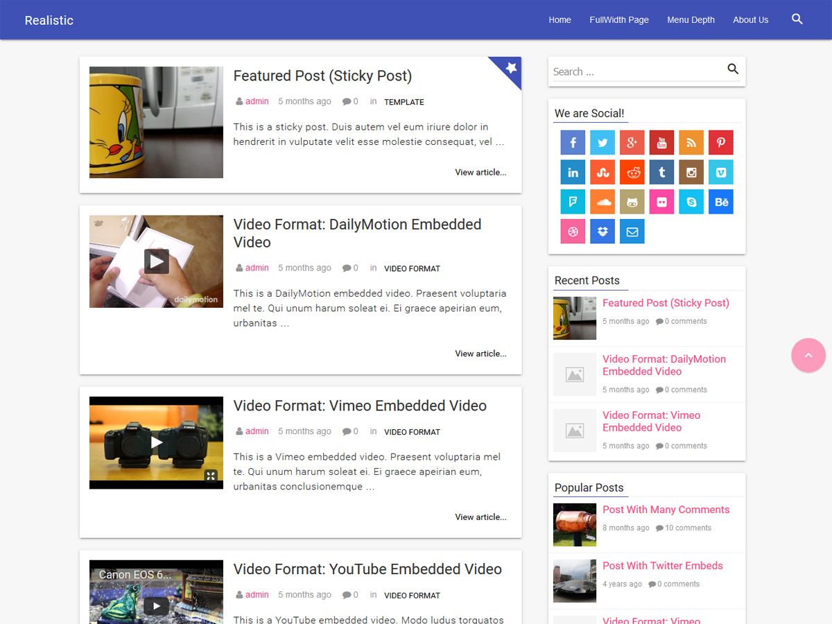 Realistic free wordpress theme