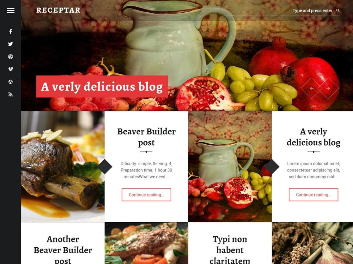 Receptar - A WordPress theme