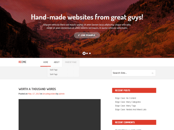Reddish wordpress theme