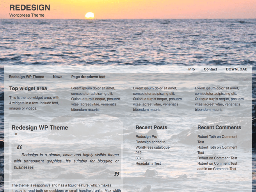 Redesign free wordpress theme