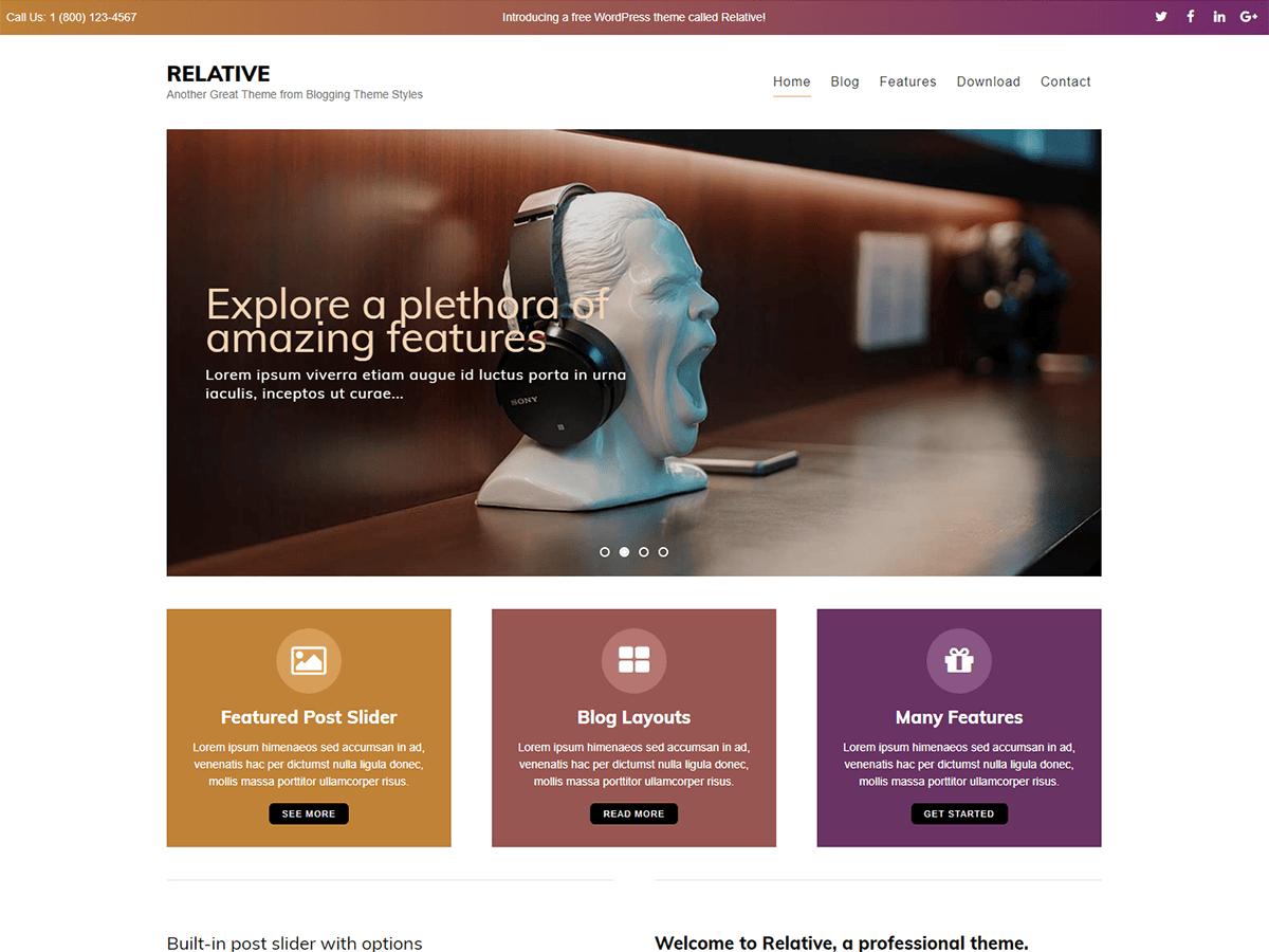 Relative - WordPress theme | WordPress.org English (Canada)