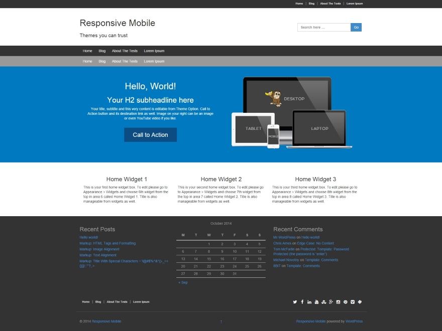 Responsive Mobile free wordpress theme