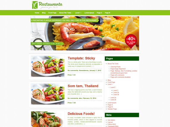 Restaurante wordpress theme
