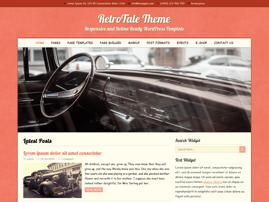 RetroTale free wordpress theme