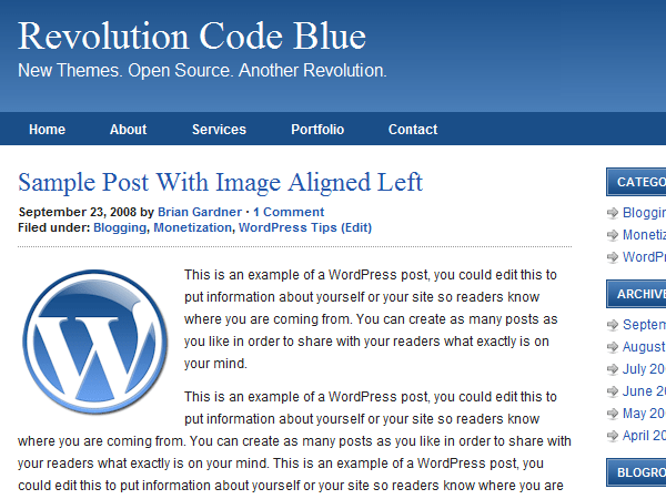 Revolution Code Blue free wordpress theme