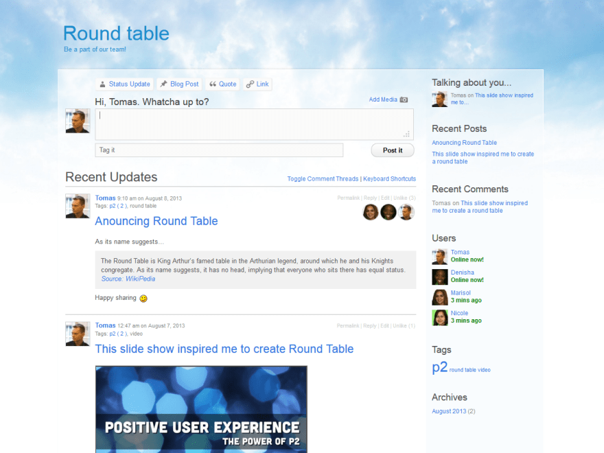RoundTable theme wordpress gratuit