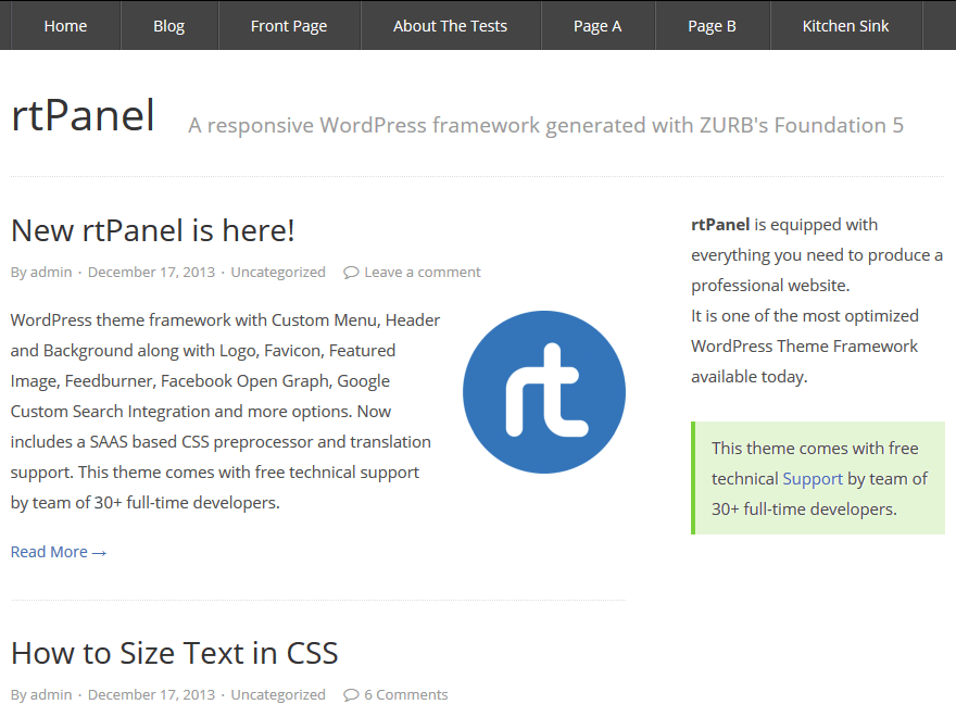 rtPanel free wordpress theme
