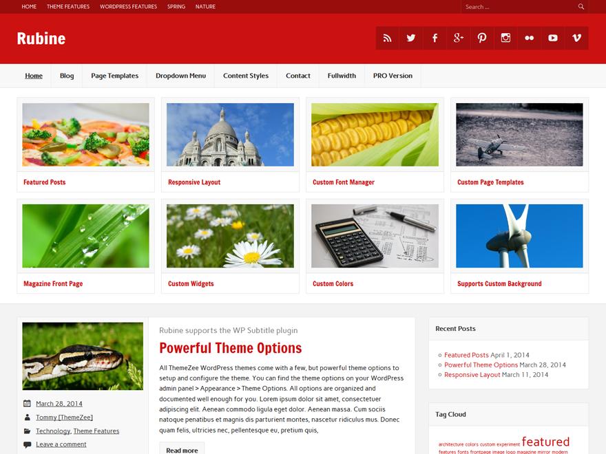 Rubine Lite free wordpress theme