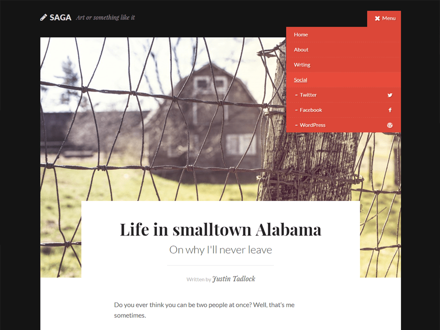 Saga free wordpress theme