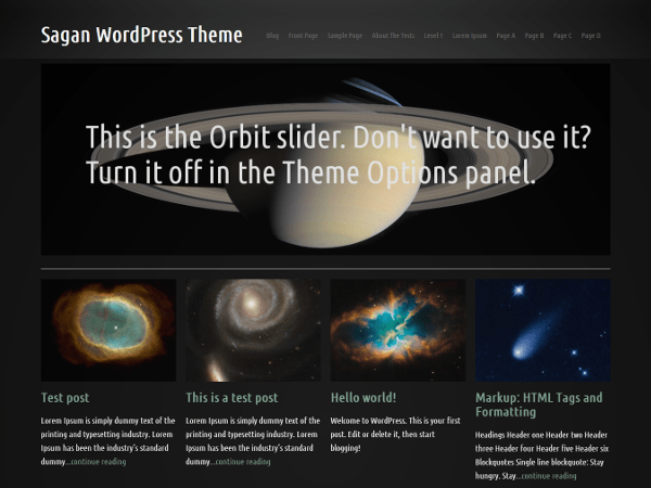 Sagan free wordpress theme