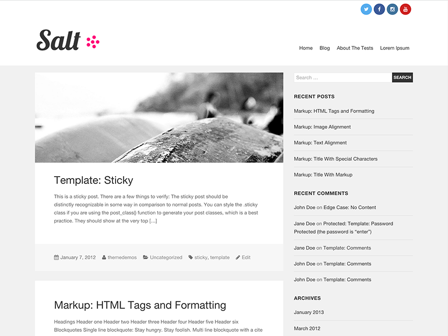 Salt free wordpress theme