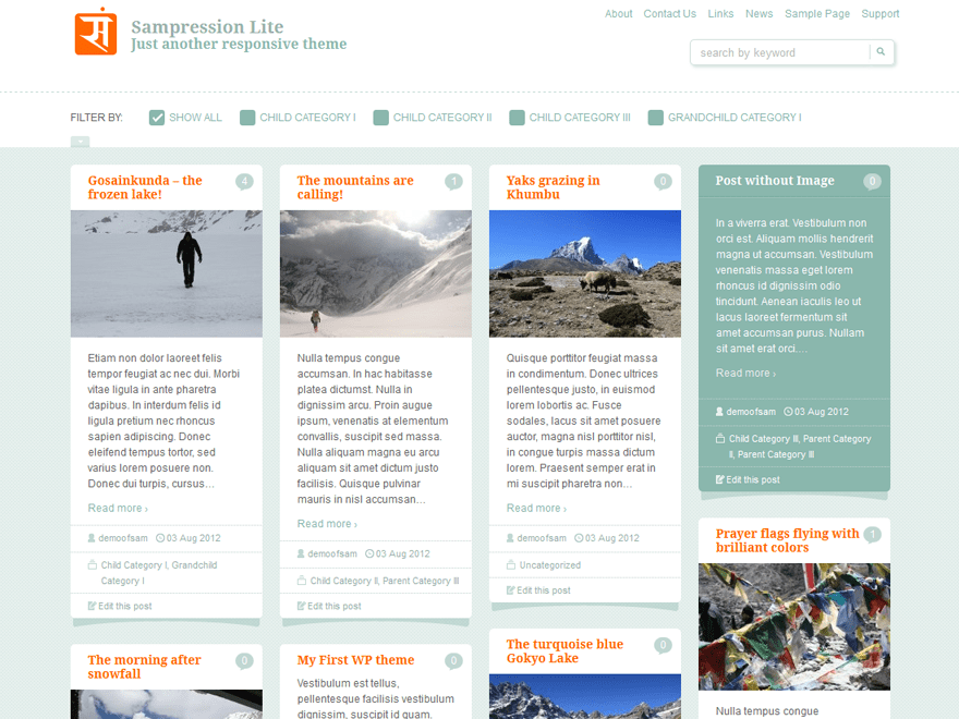 Sampression Lite free wordpress theme