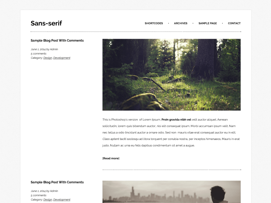 Sans-serif free wordpress theme