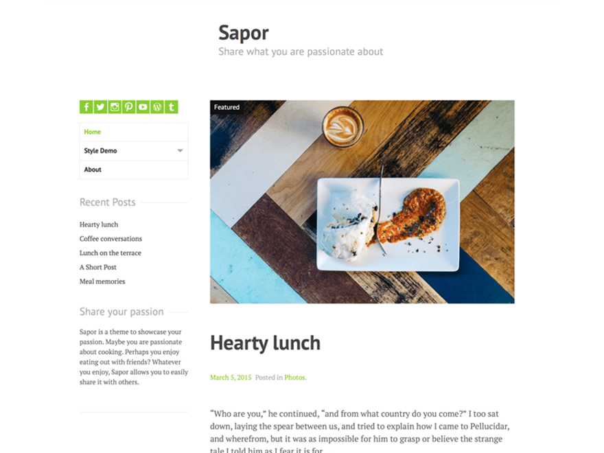 Sapor free wordpress theme